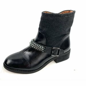 LOFT by Ann Loft Black Leather Moto Boots 7
